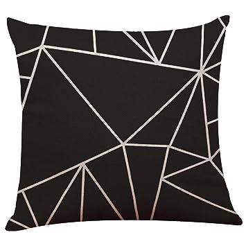 Uexpectating Leinenbaumwoll Kissenbezüge Vintage Schwarz Weiß Geometrisch Kissenbezug Taille Kissen Abdeckung Sofa Zuhause Dekor L 45 X 45 Cm