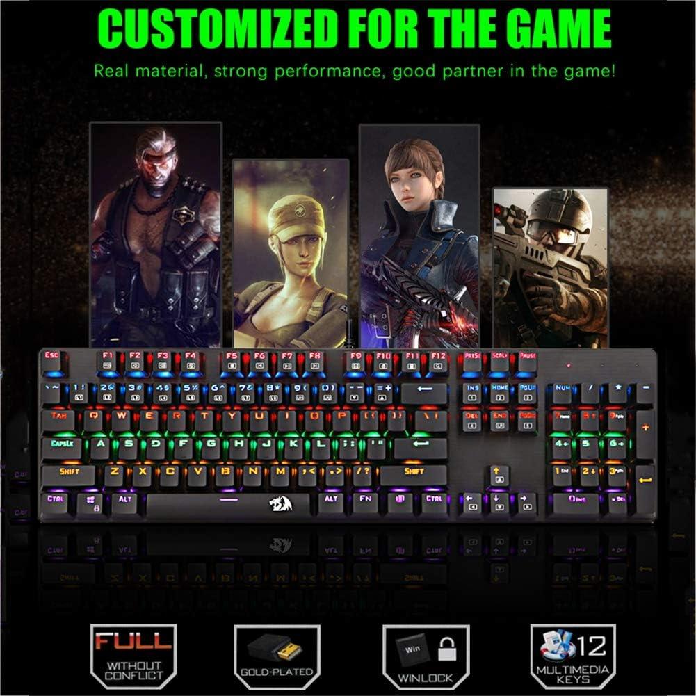 QLPP RGB Mechanical Keyboard,Gaming Mechanical Keyboard Backlit Keyboard 104key for PC//Mac//iPad//iPhone//Smartphone//Laptop