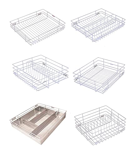 steel gold kitchen basket set of 6 pcs 21x20x4 21x20x6 and 21x20x8 rh amazon in  stainless steel basket for modular kitchen