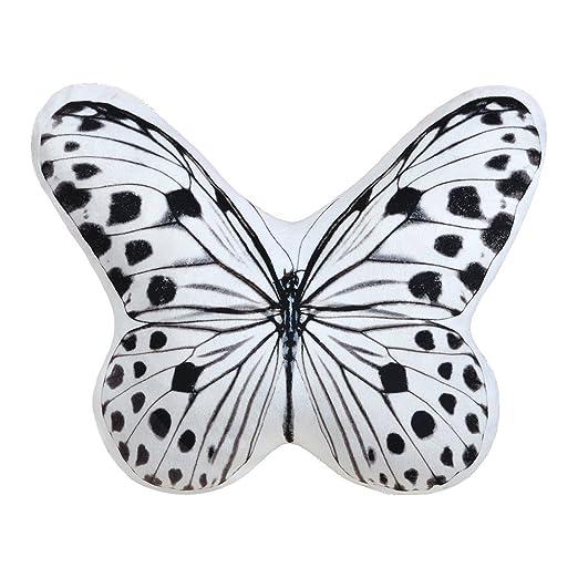 Cojín con impresión y forma de mariposa tridimensional, de JW, de tela extremadamente suave, hecho a mano, para uso doméstico en exteriores y en ...