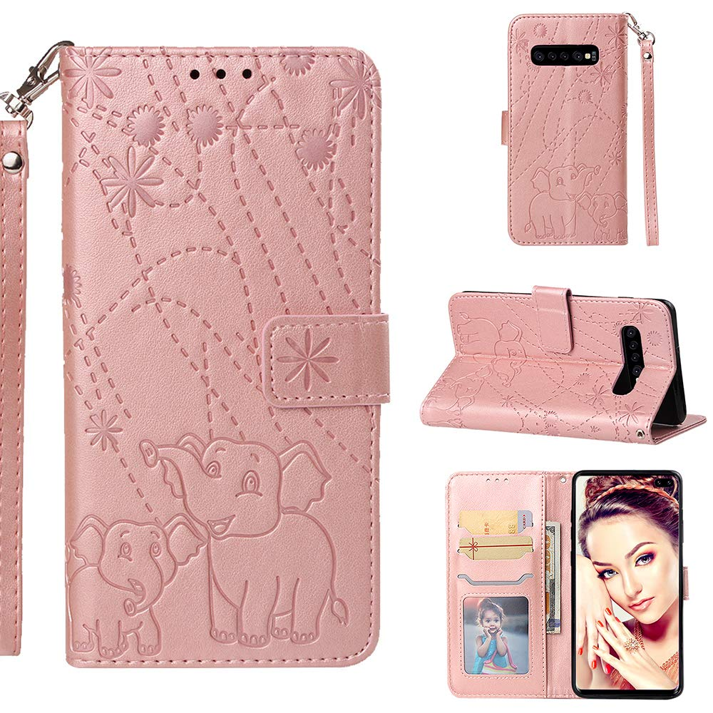 Galaxy S9 Plus Case,Samsung S9 Plus Wallet Case,PU Leather Case Floral Elephant Flowers Embossed Purse with Kickstand Flip Cover Card Holders Hand Strap for Samsung Galaxy S9 Plus Rose Gold