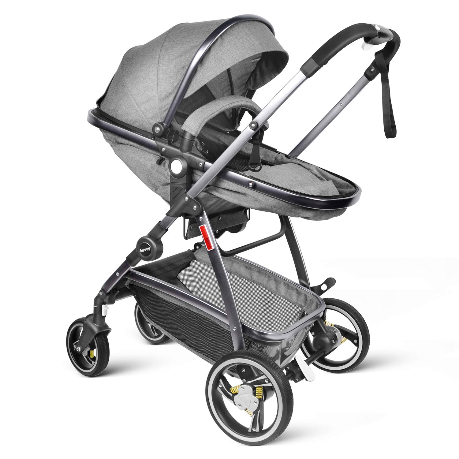 besrey Baby Stroller 2 in 1 Pram Baby Carriage with Convertible Reversible Bassinet & Shock Absorber for Infant Newborn Comfortable to Sleep in - Gray