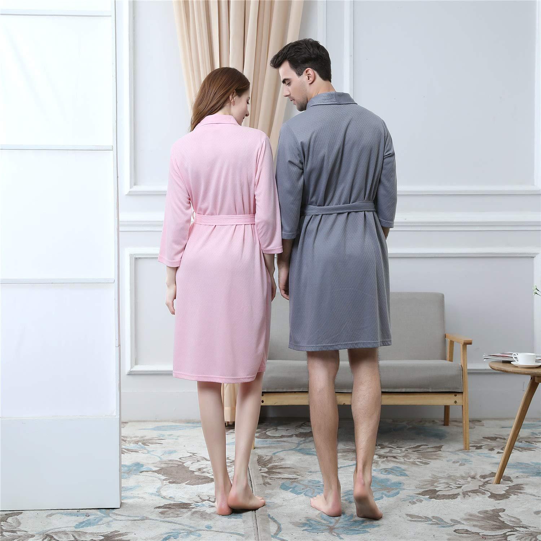 Vestidos para Hombres Batas Amantes Pijamas Ropa de Dormir Damas Ligeras Jersey de algodón Vestidos para Gimnasio Ducha SPA Hotel Robe Holiday (Color ...