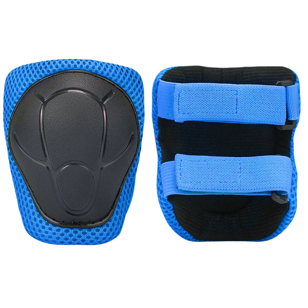 Knee Elbow Wrist KuYou Sports Protective Gear Safety Pad Safeguard Blue Support Pad Set Equipment for Kids Roller Bicycle BMX Bike Skateboard Protector Guards Pads.