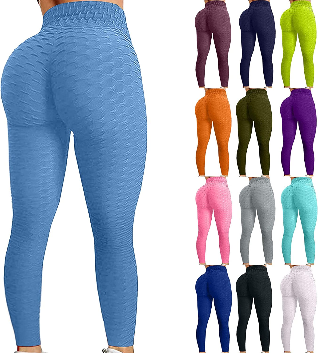 Amazon Com Firero Women S Bubble Hip Butt Lifting Anti Cellulite Legging High Waist Workout Tummy Control Yoga Tights Clothing