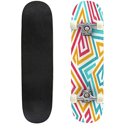 Classic Concave Skateboard Funky Curved Seamless Texture with Grunge Effect Longboard Maple Deck Extreme Sports and Outdoors Double Kick Trick for Beginners and Professionals : Sports & Outdoors