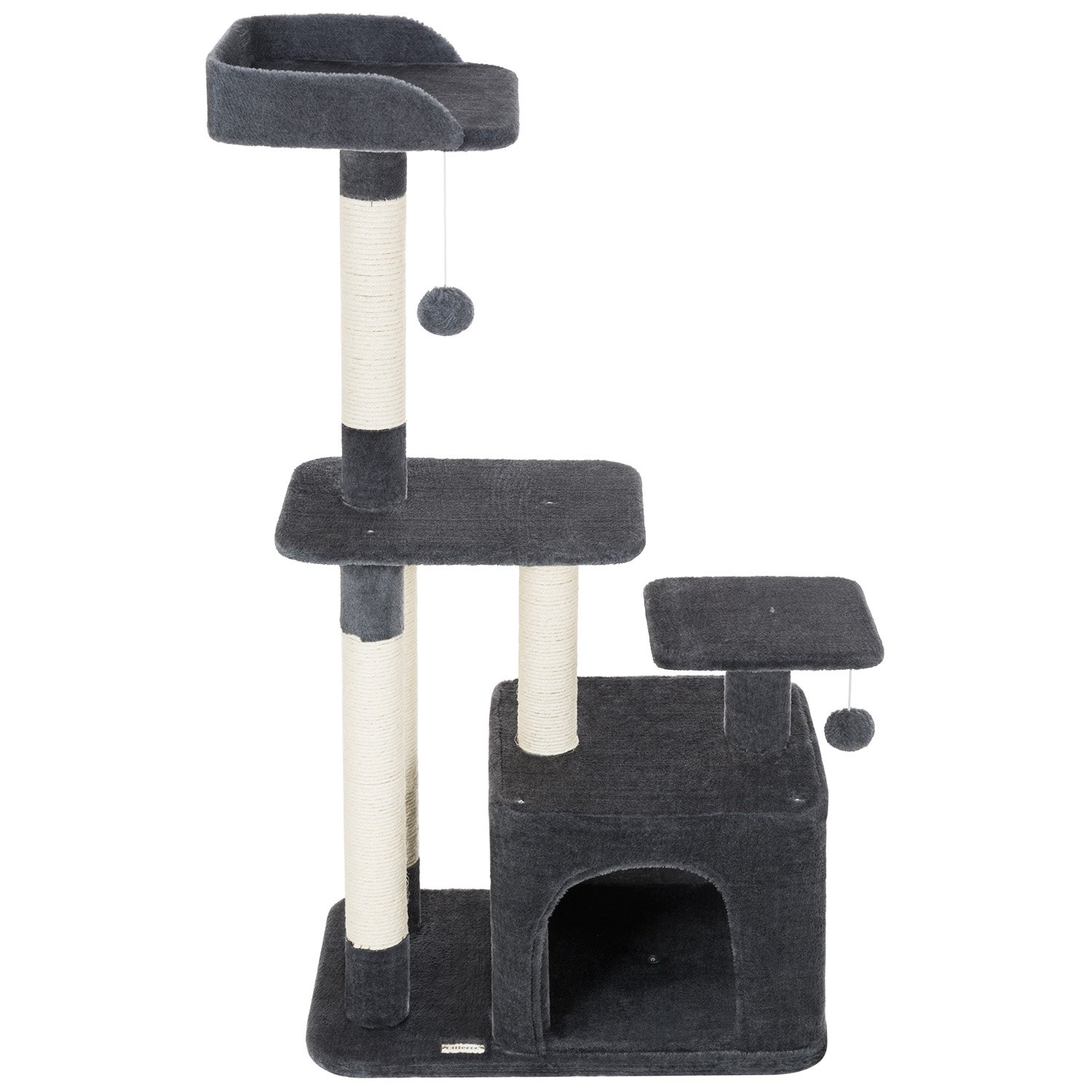 Ollieroo Cat Tree Scratcher Post Furniture Kitten Activity Tower Solid Condo Play House (Dark Gray(45''H))