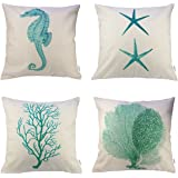 4 Packs Hippih Cotton Linen Sofa Home Decor Design Throw Pillow Case Cushion Covers 18 X 18 Inch ,1x Starfish + 1x Seahorse + 1x Coral + 1x Branch (Green)