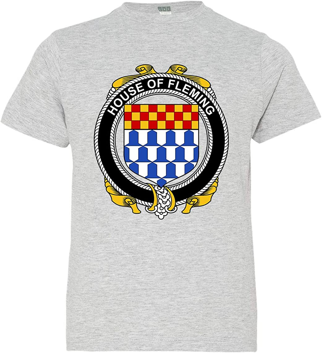 Heather Grey X-Small Tenacitee Boys Youth Irish House Heraldry Fleming T-Shirt