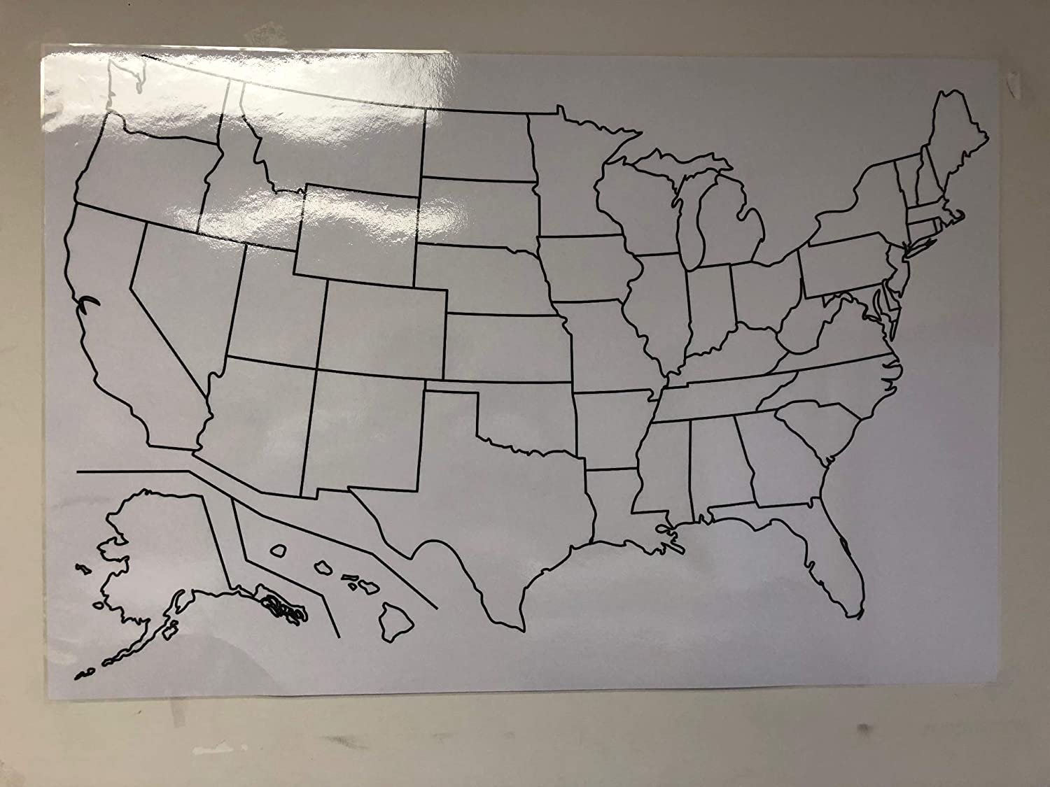 Amazoncom Copy King Blank Us Map Laminated Dry Erase Poster - Blank-us-maps-to-fill-in