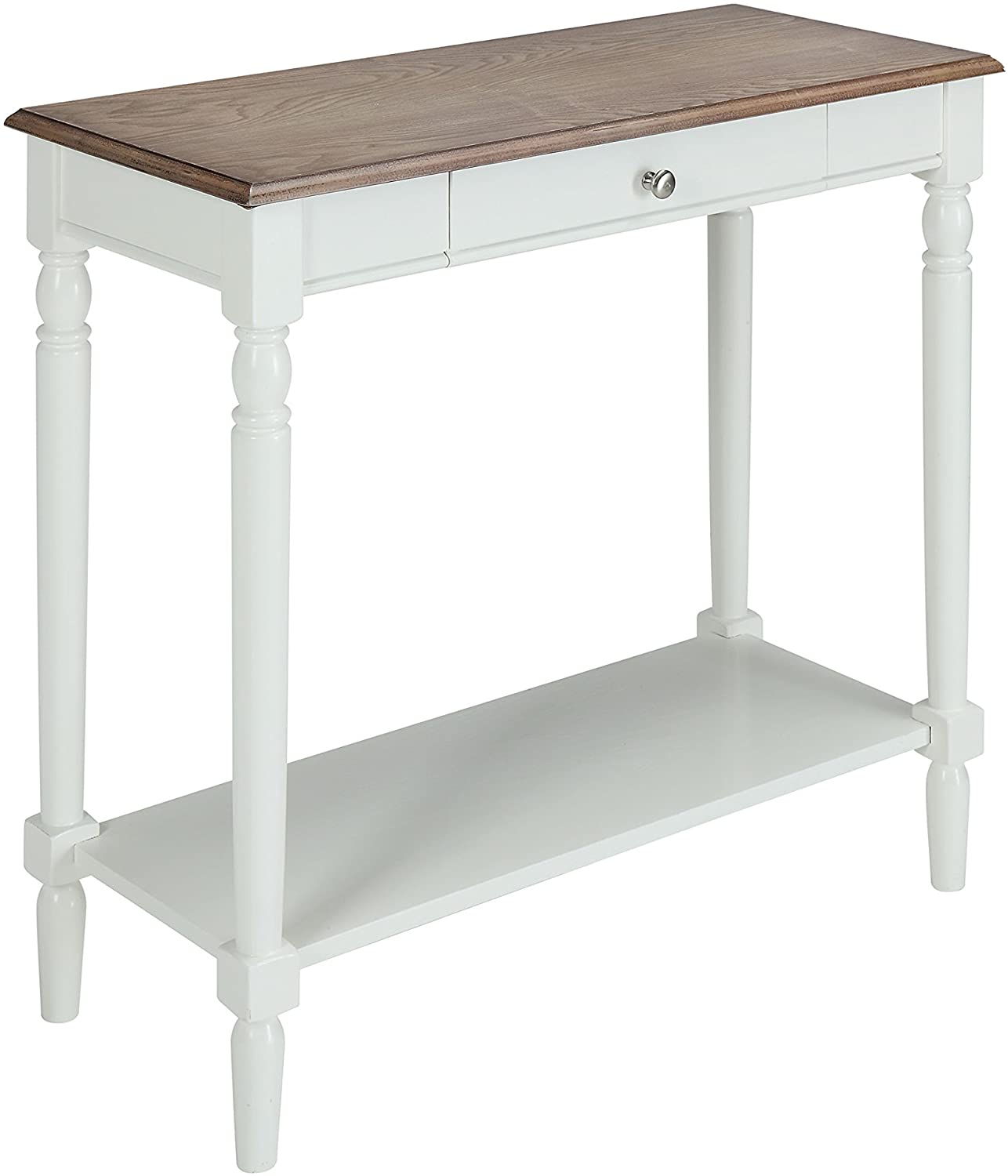 Convenience Concepts French Country Hall Table with Drawer and Shelf, Driftwood / White