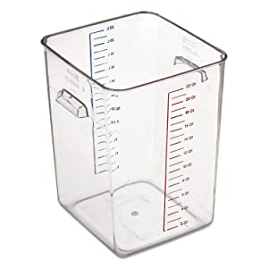 "Rubbermaid Commercial 632200 CLR Space Saver Square Container, 22 Quart, 10-1/2"" x 11.3"" x 14.4"", Clear"