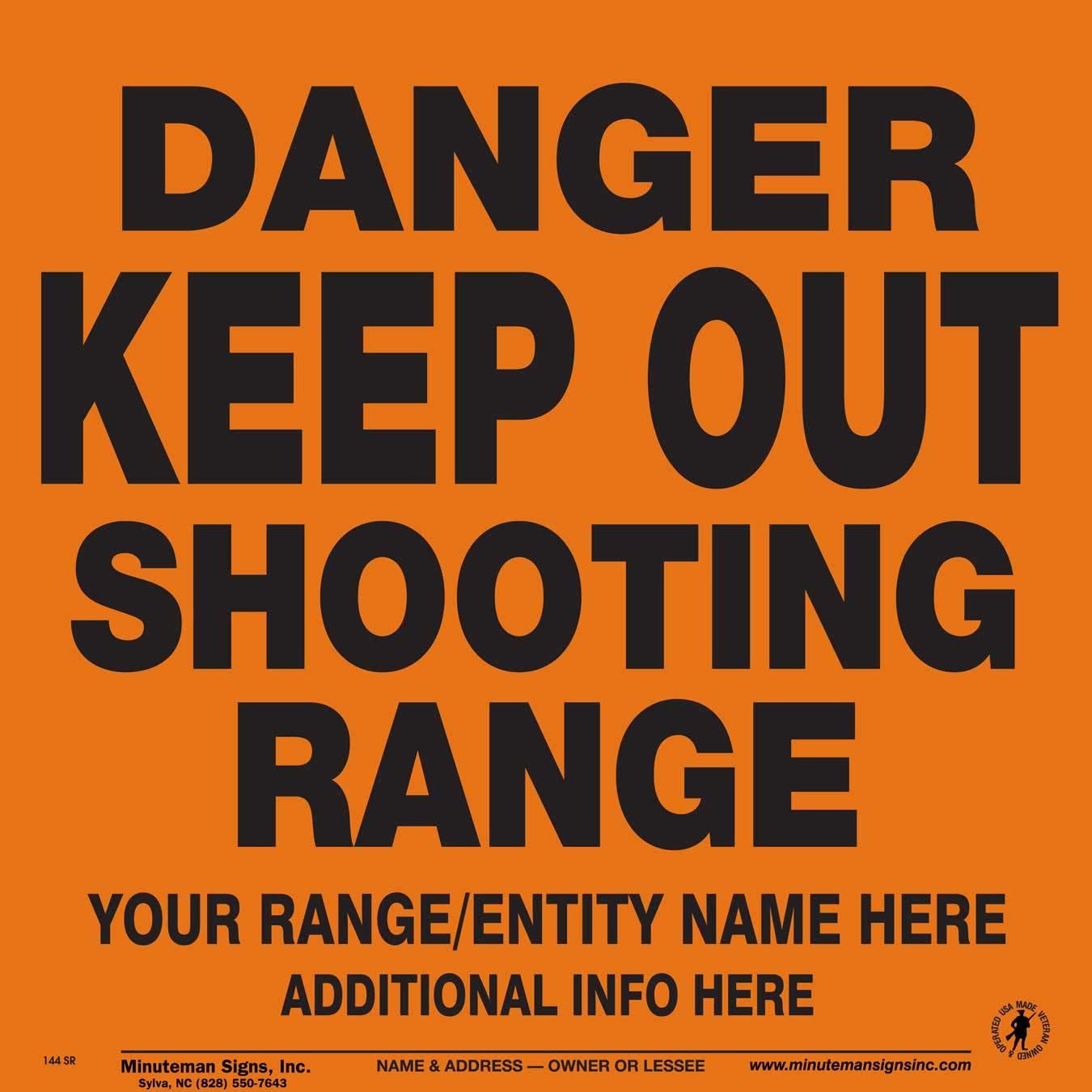 Minuteman Signs Customized Danger Keep Out Shooting Range Aluminum Sign x25 (Orange)