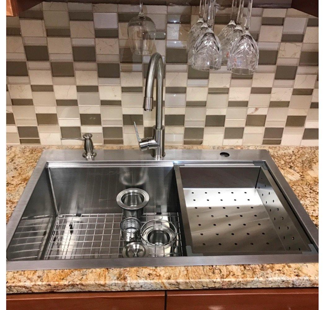 Stainless steel single bowl topmount drop in zero radius kitchen sink - 33 X 22 Top Mount Single Bowl Kitchen Sink Drop In 304 Stainless Steel 16 Gauge By Supersuper Proofing Amazon Com