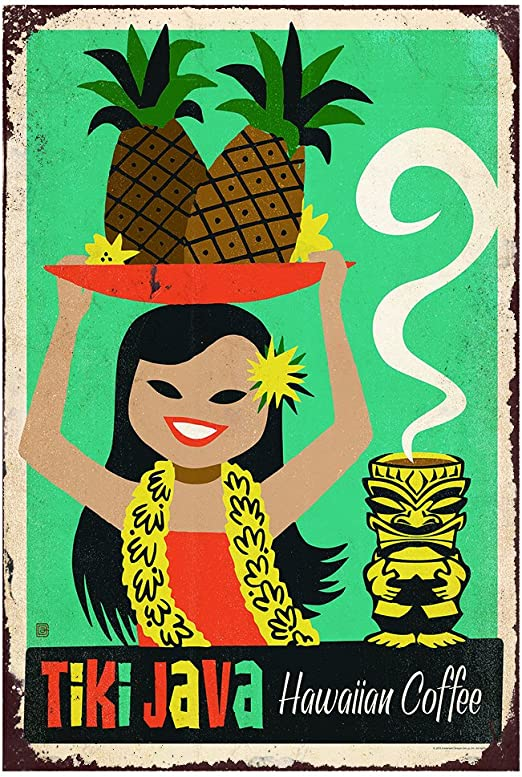 "TIN SIGN /""Tiki Java/"" Coffee Pineapple Hawaiian Wall Decor"