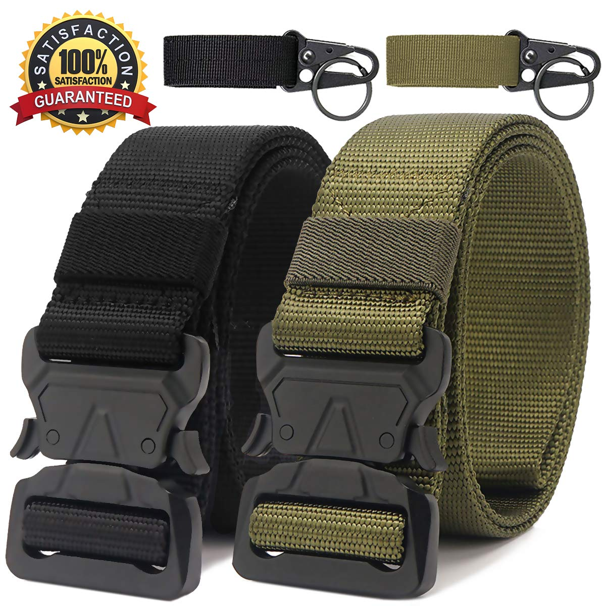RONGQI 2 Pack Tactical Belt,Military Style Quick Release