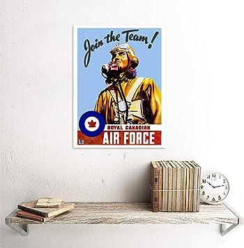 Wee Blue Coo Propaganda War WWII Canada Enlist Air Force Pilot Unframed Wall Art Print Poster Home Decor Premium