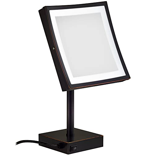 GURUN Square Led Lighted Free Standing Makeup Mirrors with 3X Magnification,8.5 Inch,Oil-Rubbed Bronze M2205DO 8.5In,3X