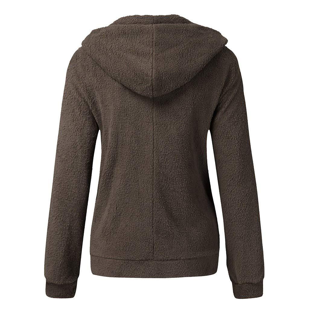 KANGMOON Womens Long Sleeve Zip Fuzzy Fleece Hooded Jacket Outwear Sweatshirt Tops Coat with Pocket