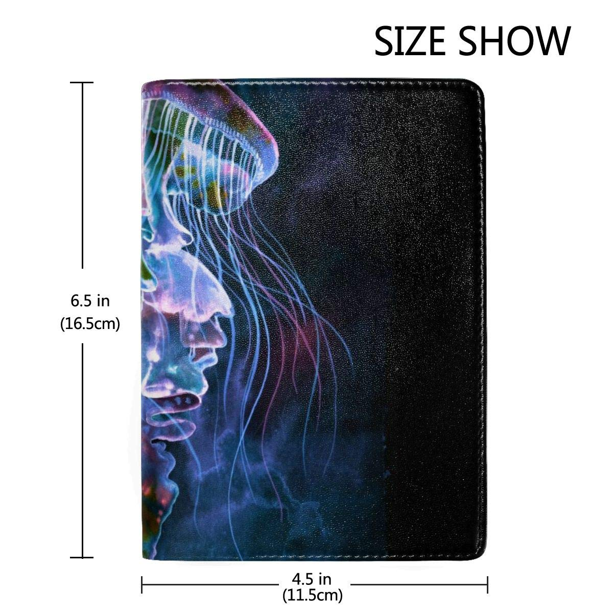 Watercolor Jellyfish Fashion Leather Passport Holder Cover Case Travel Wallet 6.5 In