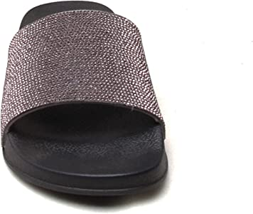 WOMENS LADIES DIAMANTE SPARKLE  DECORATED STRAP FASHION SLIDERS SLIPPERS SANDALS