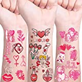 Valentine's Day Temporary Tattoo,Valentines Day Decorations Tattoos Party Favor Supplies,Glitter Styles - Rose/Ring/Candy/Hea
