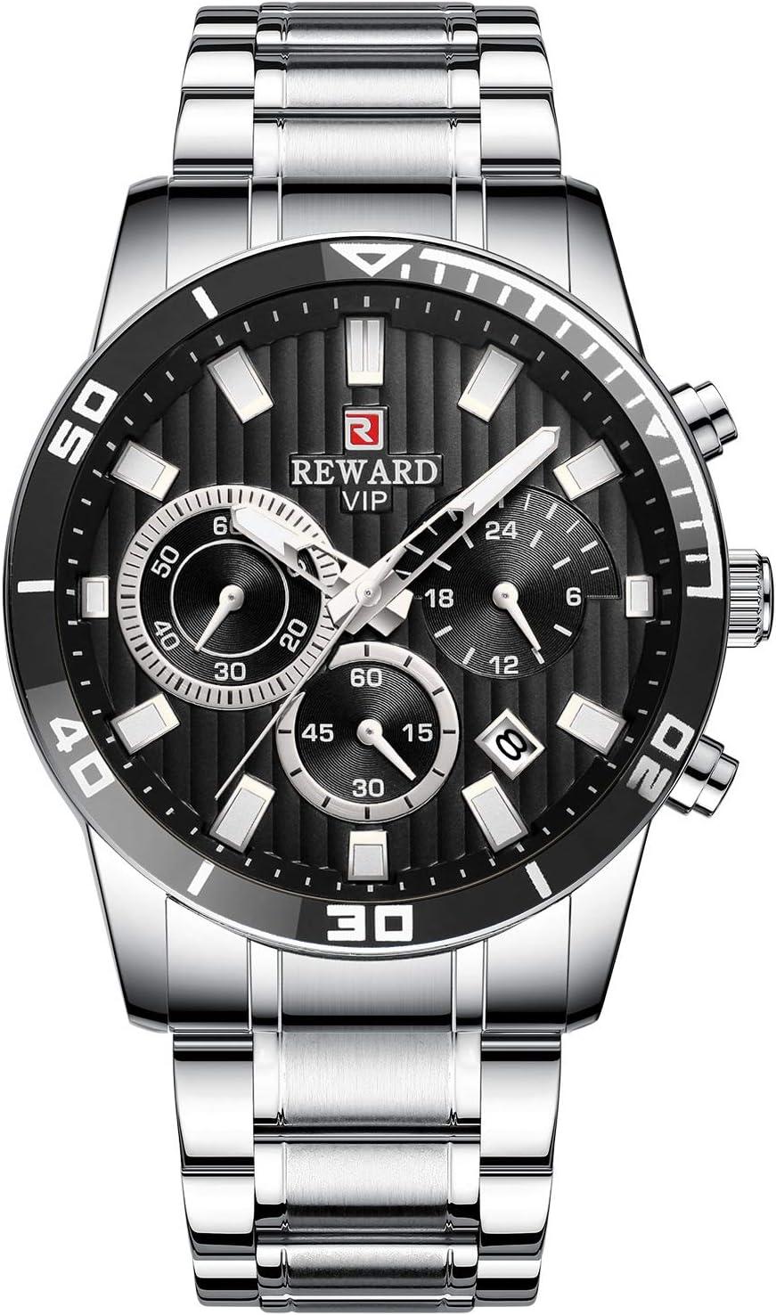 6YGR Orologio Sportivo A tre Occhi Multi-Funzione Orologio Cintura In Acciaio Calendario Impermeabile