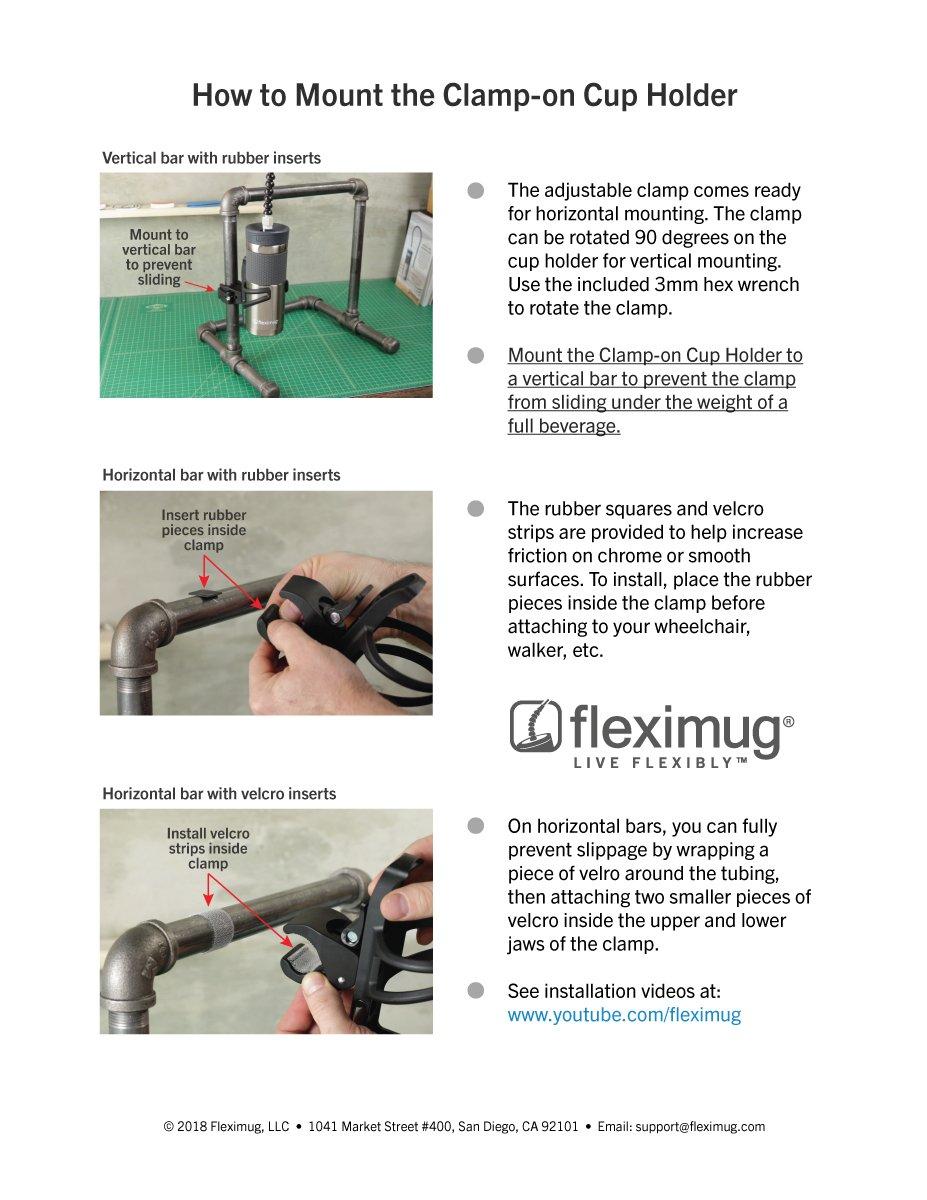Amazon.com: fleximug Clamp-On cupholder, Negro, 1: Health ...
