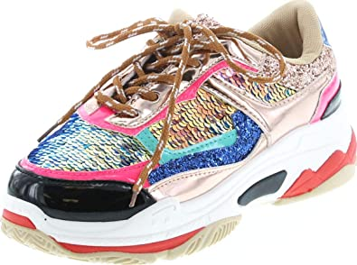 d67f1332c3430 YOKI Tubuler-04 Women's Chunky Trainer Sequin Lace Up Fashion Sneaker