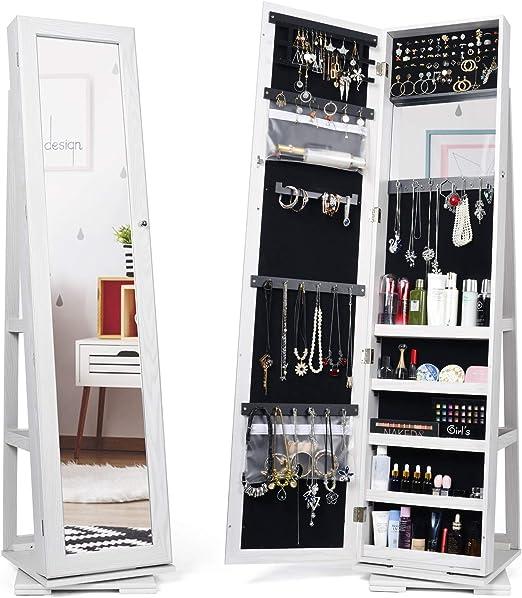 Amazon Com Titan Mall Armoire Jewelry Cabinet Standing Jewelry Organizer Jewelry Armoire With Mirror 360 Rotating Mirrored Jewelry Cabinet Armoire Mirror With Jewelry Storage White Home Improvement