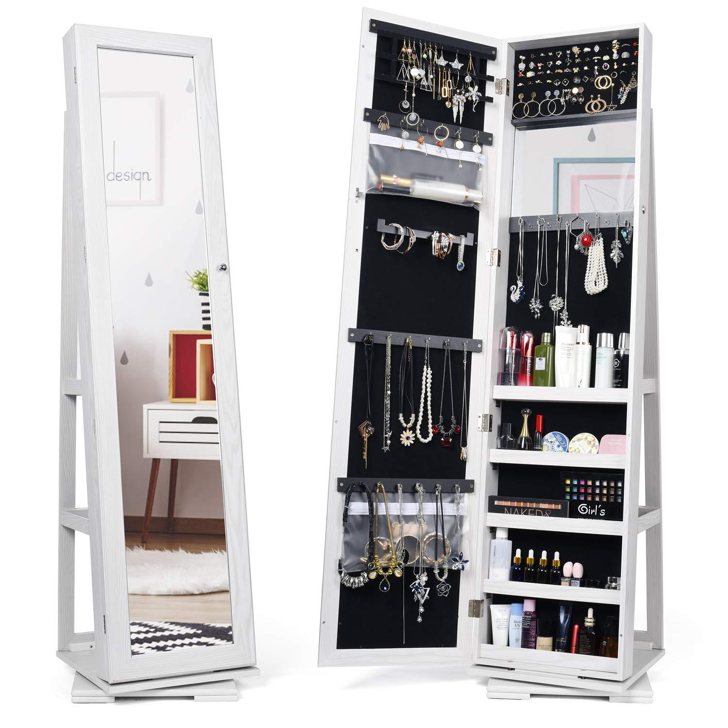 Titan Mall Jewelry Organizer Standing Jewelry Armoire with Mirror 360 Rotating Jewelry Cabinet Full Length Mirror Wall Mounted Jewelry Organizer 2019 Upgrade by Titan Mall