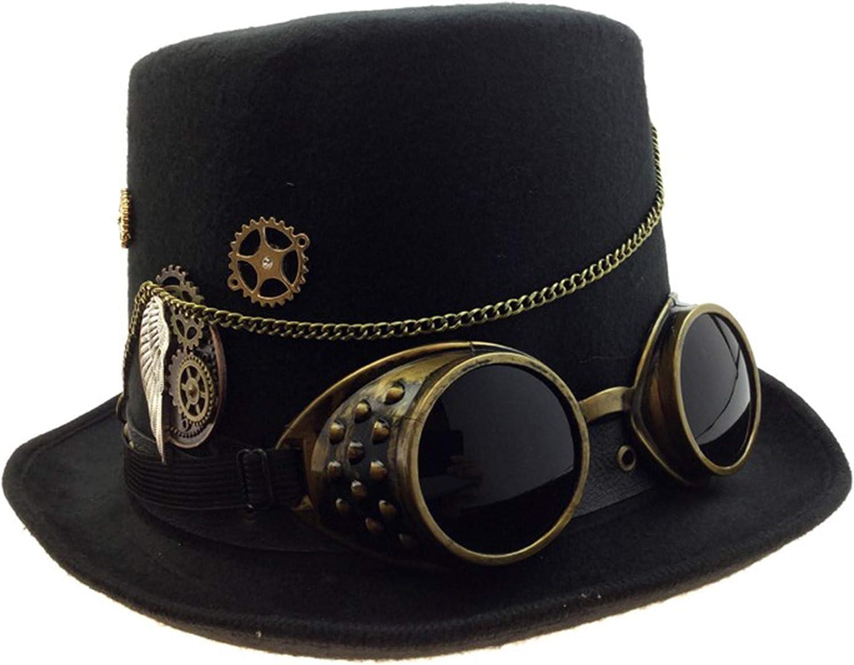 Adult Unisex Steampunk Gold Deluxe Fabric Top Hat Vintage Retro Punk Headgear
