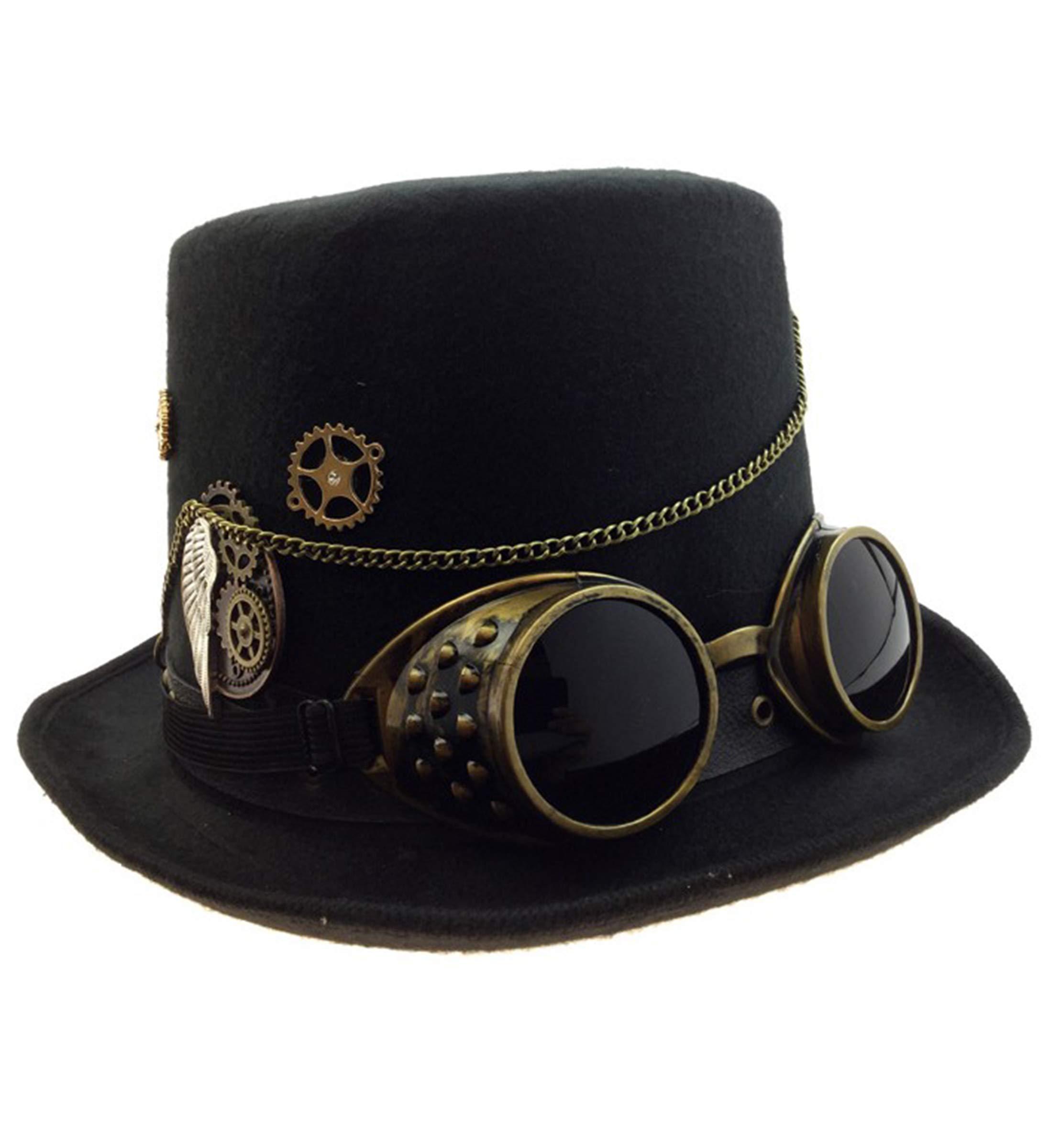 KBW Adult Unisex Steampunk Gold Deluxe Fabric Top Hat, Vintage Victorian Punk Rustic Gothic Motorcycle Pilot Aviator Eyewear Headgear