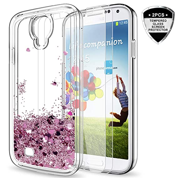 buy online a6602 541e3 Galaxy S4 Case with Tempered Glass Screen Protector [2 Pack] for Girls  Women,LeYi Cute Bling Shiny Moving Quicksand Liquid Clear TPU Protective  Phone ...