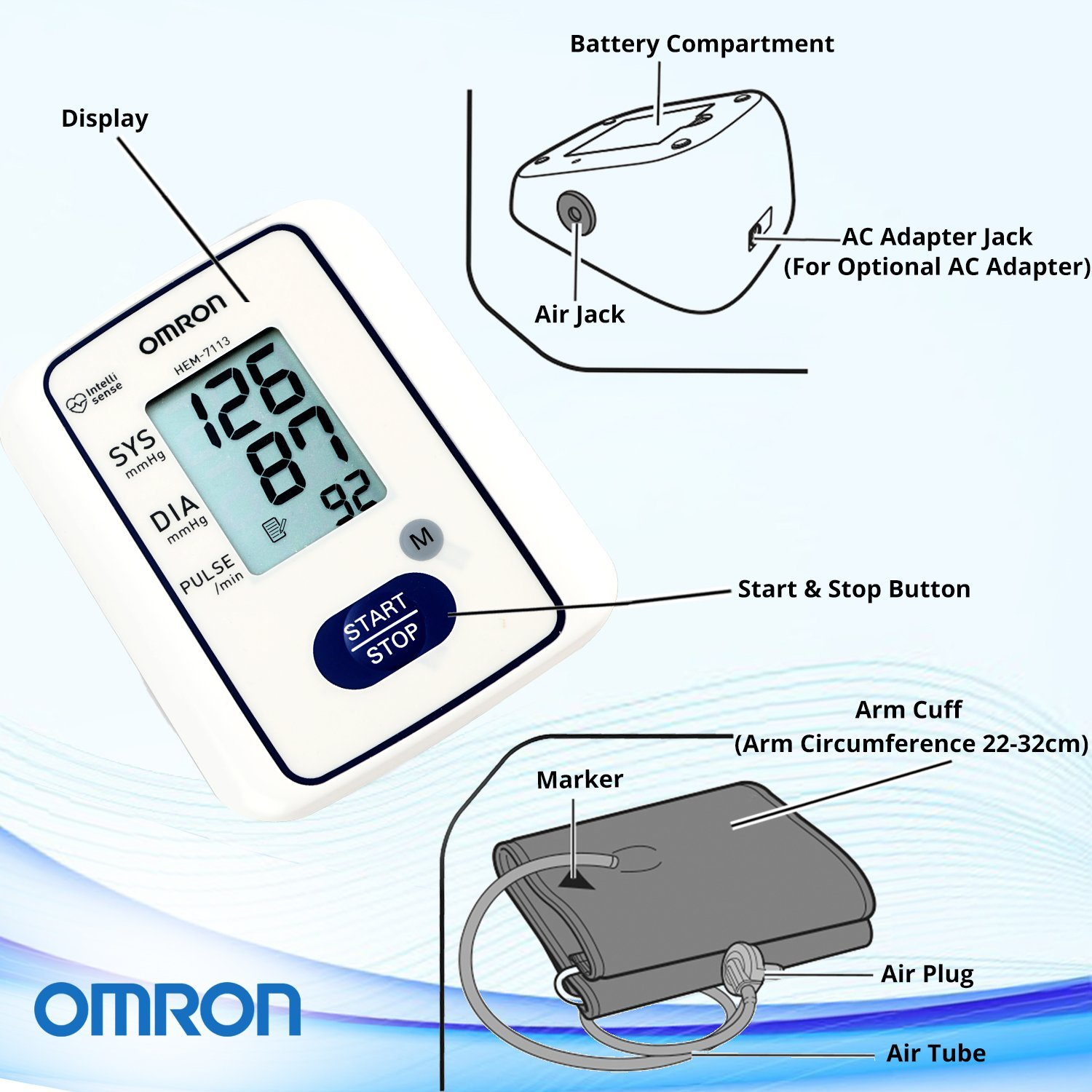 Amazon.com: Omron HEM-7113 Automatic Blood Pressure Monitor: Health & Personal Care