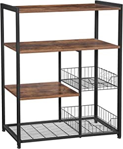 VASAGLE ALINRU Kitchen Baker's Rack, Industrial Kitchen Shelf with 2 Mesh Baskets and 6 Hooks, for Microwave and Coffee Machine, Rustic Brown UKKS96X