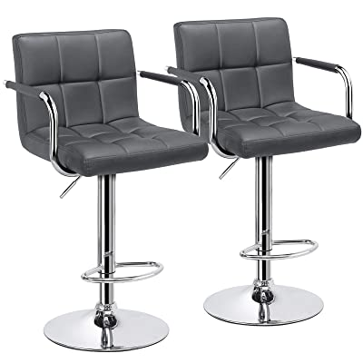 Buy Yaheetech Counter Height Bar Stools Set Of 2 Pu Leather Swivel Barstools For Kitchen Stool Height Adjustable Counter Stool Barstools Dining Chair With Armrest Grey Online In Indonesia B08n4gdthy
