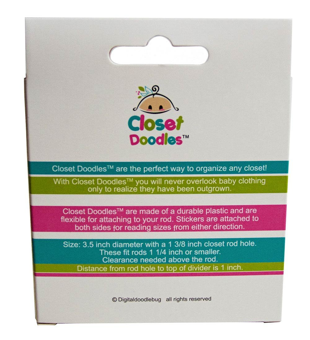 Closet Doodles C69 Baby Clothing Dividers Boy or Girl Set of 6 Fits 1.25inch Rod