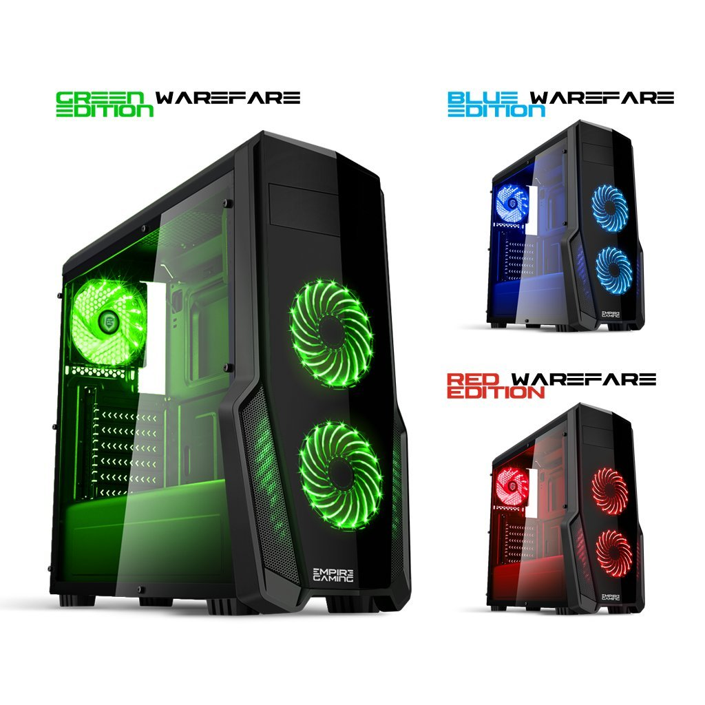 Empire Gaming - Caja PC para juegos WarFare negra LED verde: USB 3.0, 3 ventiladores LED 120 mm, pared lateral ahumado transparente - ATX/mATX/mITX: ...
