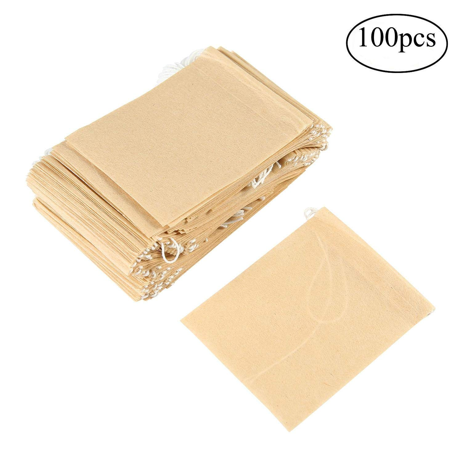 AOLVO Disposable Drawstring Empty Paper Tea Filter Bags for Herb and Tea Looses Leaf Pack of 100