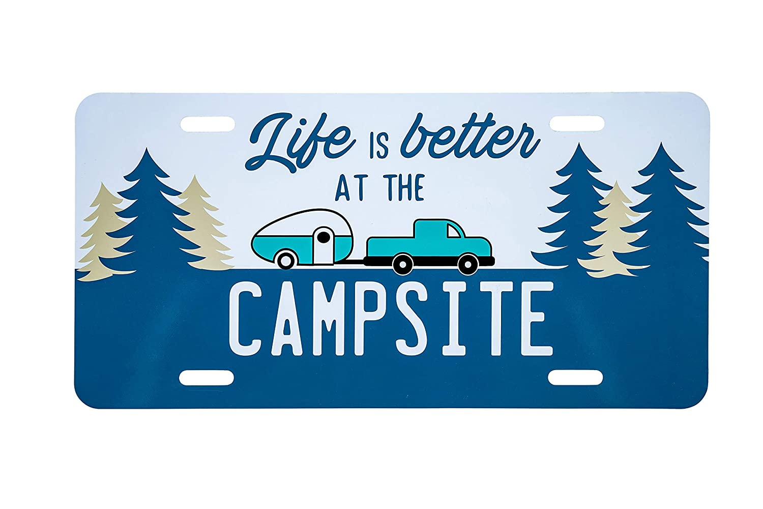 6 x 12 Camco Life is Better at The Campsite Novelty Vehicle Front License Plate-Perfect for RVs Navy Blue Campers and Trailers and More 53250