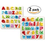 INTELLITOYZ Set of 2 Uppercase and Lowercase Chunky Wooden Alphabet Jigsaw Puzzles, Colorful Letters