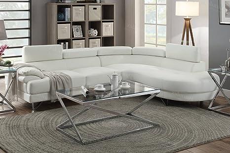Strange 2Pcs White Bonded Faux Leather Sectional Sofa Set White Color Creativecarmelina Interior Chair Design Creativecarmelinacom