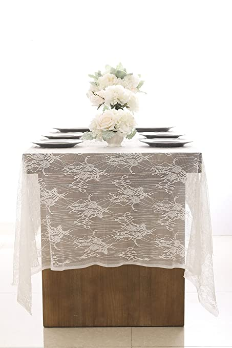 Amazon.com: ling\'s moment 60x120 Inches White Wedding Lace ...