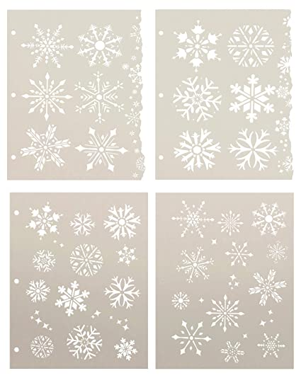 Amazon.com: Set de 4 plantillas de copo de nieve de ...