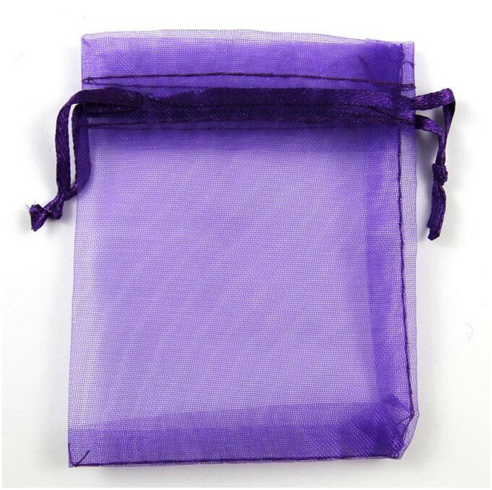 Organza Wedding Party Favor Bags- Package of 100 (6''x9'', Purple) by Ximkee (Image #1)