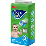 Fine Baby Diapers, Size 3, Medium 4–9kg, Jumbo Pack of 52 diapers