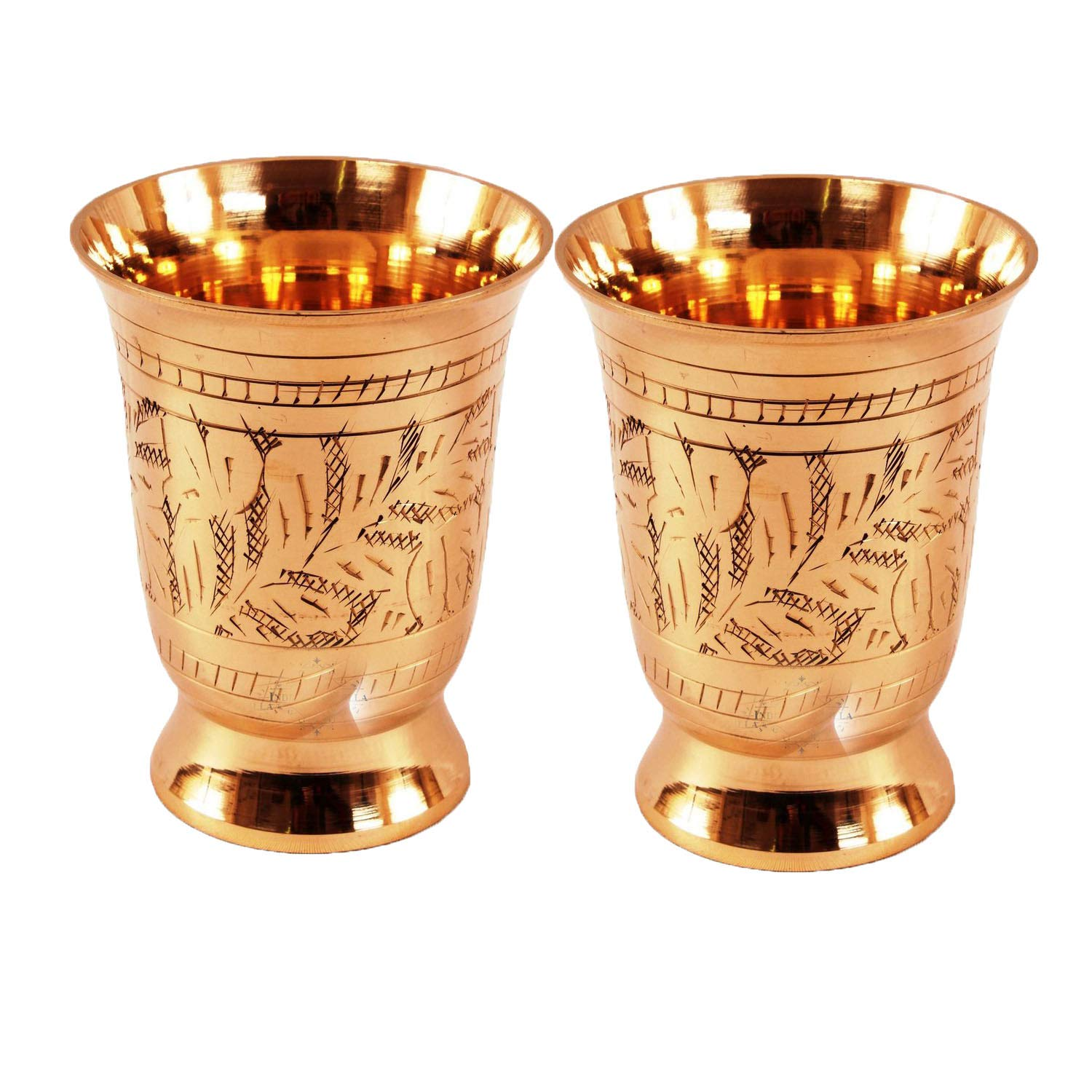 Set Of 2 Mughlai Style Designer Brass Mint Julep Cup Goblet Tumbler Capacity 8.5 Ounce Each