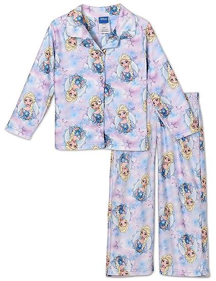 ca9d89f8e Amazon.com  Disney Girls  Frozen Elsa and Anna 2-Piece Minky Pajama ...