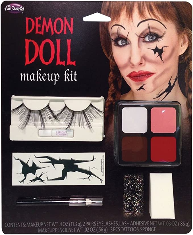Fun World Halloween Demon Doll Face Paint Make Up Kit with ...